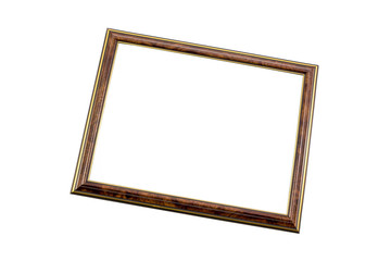 Classic wooden frame, vintage frame isolated on white background, with clipping path.