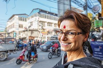 Smiling Tourist in Kathmandu, Nepal