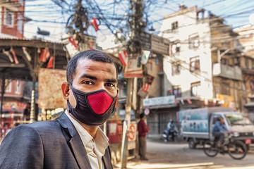 Nepalese with Surgical Mask, Kathmandu, Nepal