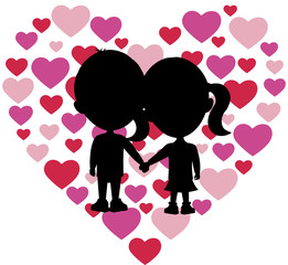 Silhouettes of two small children holding hands in front of lots of small hearts arranged to form a heart shape.