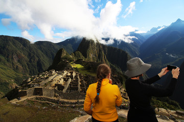 Peru Machu Pichu Travel Tourists Mother Daughter Mountain Panorama Advertisement commercial Work and Holiday