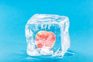 Apple Frozen Inside Ice Cube