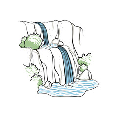 Vector illustration of waterfall.