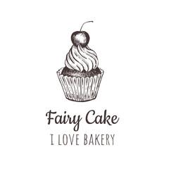 Fairy cake, cupcake sketch lettering logo.