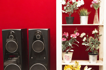 music speakers and a shelf with flowers on a bright red wall background