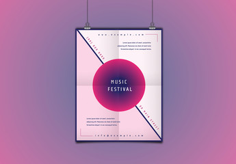 Music Festival Flyer with Two-Tone Pink Background