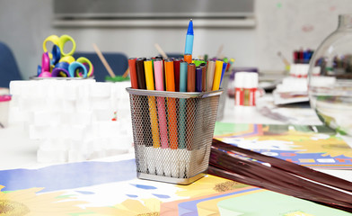 on the table set for children's creativity