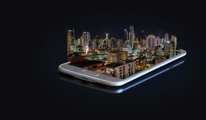 3D photo on a smartphone - View of Panama City at night.