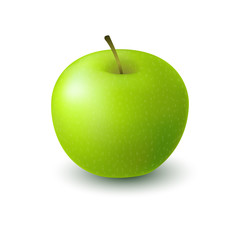 Isolated realistic colored green apple. Whole juicy fruit with shadow on white background.