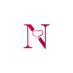 N letter logo with heart icon, valentines day concept