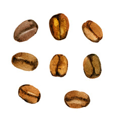 Coffee beans isolated on white, watercolor illustration