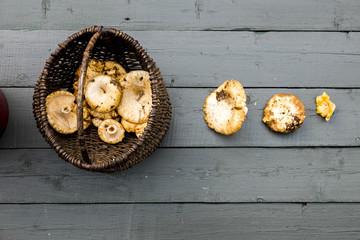 mushrooms on a wooden table . autumn motif