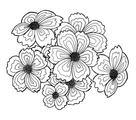 set of hand-drawn flowers
