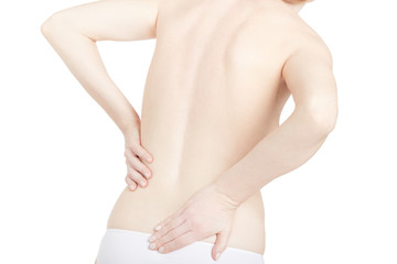 Shirtless woman touching her back for the pain, backache on white, clipping path