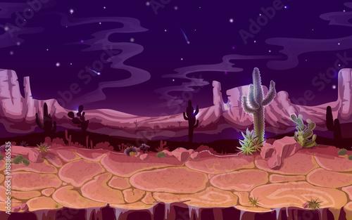 Vector Seamless Desert Night Landscape Horizontal Cartoon Game