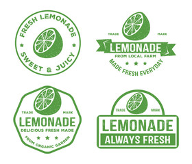 vector design badge, label, logo pack of lemonade beverage, lemon syrup, lemon juice, made fresh and sweet