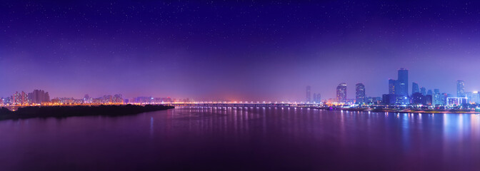 Night panorama of Yeouido island - famous buisness district of Seoul, South Korea