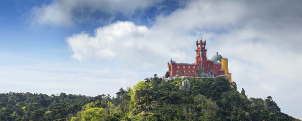old colored famous castle on the hill in Sintra in Portugal