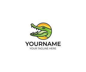 Colorful crocodile logo template. Alligator vector design. Animal croc illustration