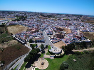 Palos de la Frontera pueblo de Huelva en Andalucia,España, punto  de inicio del descubrimiento de America de Cristobal Colon
