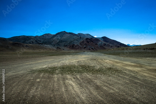 View Of A Cold Desert And Mountain In Ladakh India Stock Photo And