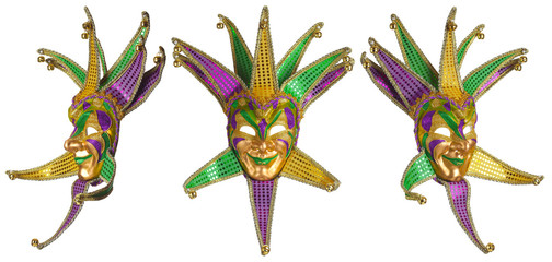 Set of colorful Mardi Gras masks isolated on white