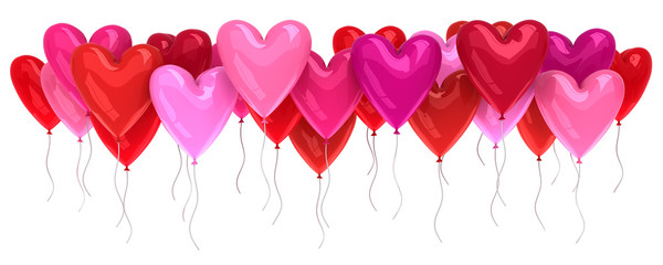 Bunch of red and pink balloons isolated on white - 3d render
