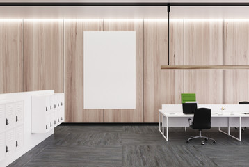 Wooden open space office, poster
