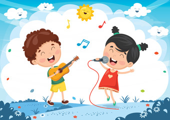 Vector Illustration Of Kids Playing Music And Singing