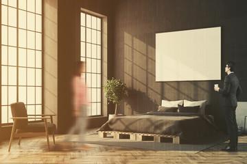 Black bedroom corner, horizontal poster blur