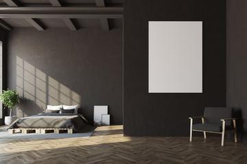 Black bedroom, horizontal poster, armchair