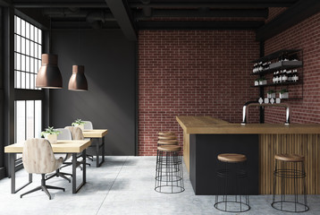 Black and brick bar interior
