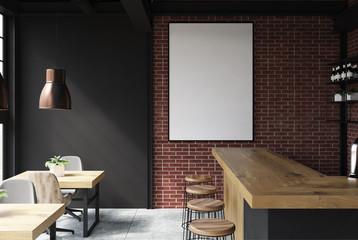 Black and brick bar interior poster