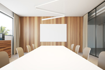 White and wooden meeting room poster
