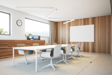 White and wooden meeting room corner poster