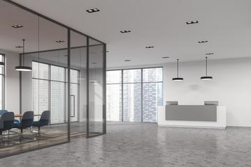 Glass meeting room corner, reception