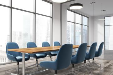 Meeting room corner, blue chairs