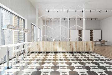 Checkered floor office
