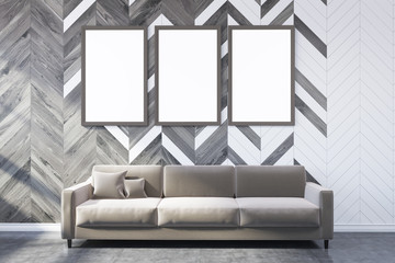 White and wooden living room, poster gallery, sofa