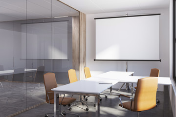 White and glass meeting room, whiteboard