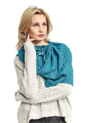 Beautiful young blonde woman in blue  scarf collage