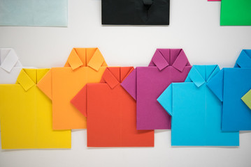 Colorful, handmaid paper shirts, rainbow colors