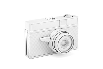 Vintage white photo camera with clipping path