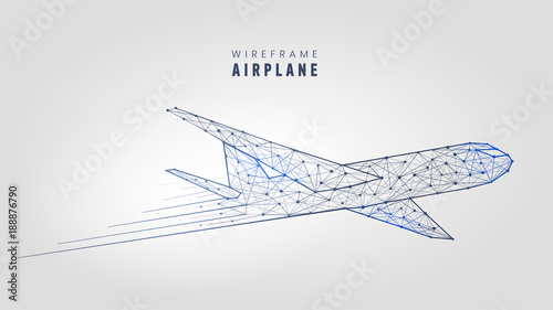 polygonal airplane wireframe structure template low poly plane on