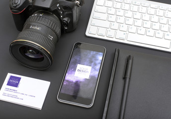 Camera and Smartphone with Stationery Mockup 1