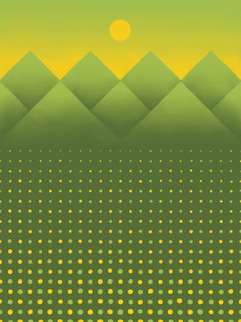 Green Mountains with Field of Abstract Yellow Flowers