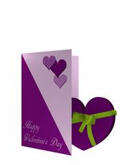 Valentinskarte mit lila Herz und einer Schleife.