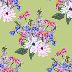 Seamless background with cute garden flowers. Design for cloth, wallpaper, gift wrapping. Print for silk, calico, home textiles.Vintage natural pattern.