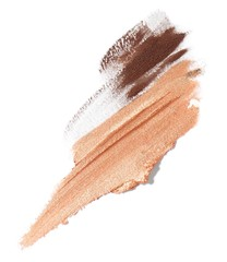 Smeared beige and brown liquid cosmetics on white background