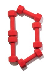 Five red dumbbells shaped like letter D on white background
